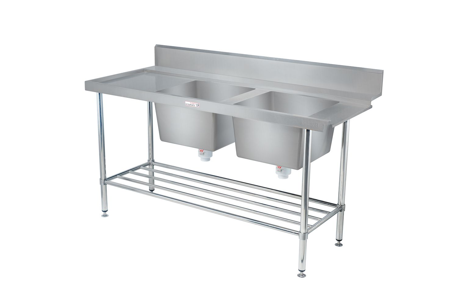 Simply Stainless Dishwash Table & Double Bowl Sink - SS091650DBL